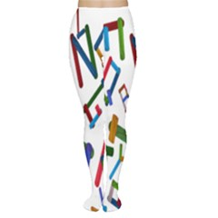 Colorful Letters From Wood Ice Cream Stick Isolated On White Background Women s Tights