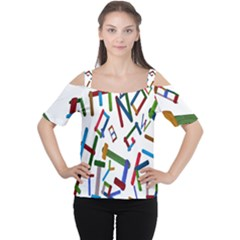 Colorful Letters From Wood Ice Cream Stick Isolated On White Background Women s Cutout Shoulder Tee