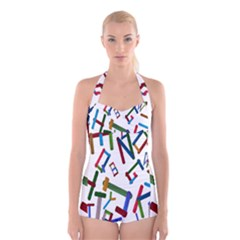 Colorful Letters From Wood Ice Cream Stick Isolated On White Background Boyleg Halter Swimsuit