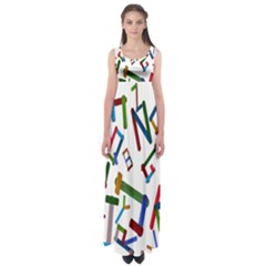 Colorful Letters From Wood Ice Cream Stick Isolated On White Background Empire Waist Maxi Dress
