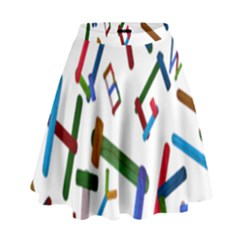 Colorful Letters From Wood Ice Cream Stick Isolated On White Background High Waist Skirt
