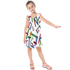Colorful Letters From Wood Ice Cream Stick Isolated On White Background Kids  Sleeveless Dress