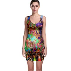 Alien World Digital Computer Graphic Sleeveless Bodycon Dress