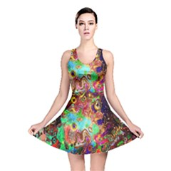 Alien World Digital Computer Graphic Reversible Skater Dress