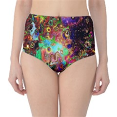 Alien World Digital Computer Graphic High Waist Bikini Bottoms