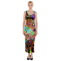 Alien World Digital Computer Graphic Fitted Maxi Dress