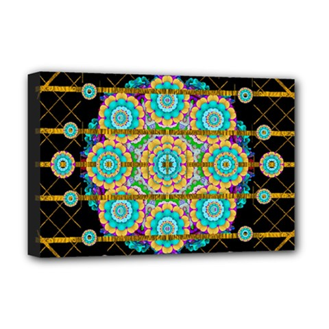 Gold Silver And Bloom Mandala Deluxe Canvas 18  X 12