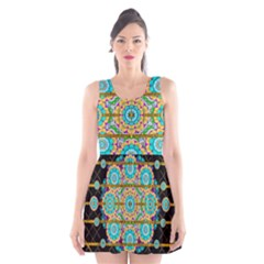 Gold Silver And Bloom Mandala Scoop Neck Skater Dress