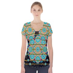 Gold Silver And Bloom Mandala Short Sleeve Front Detail Top