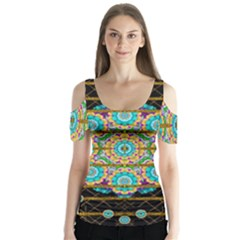 Gold Silver And Bloom Mandala Butterfly Sleeve Cutout Tee