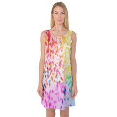 Colorful Colors Digital Pattern Sleeveless Satin Nightdress