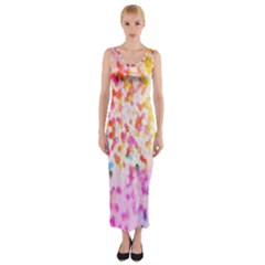 Colorful Colors Digital Pattern Fitted Maxi Dress