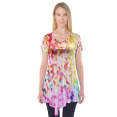 Colorful Colors Digital Pattern Short Sleeve Tunic