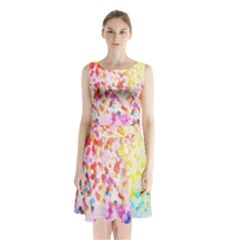 Colorful Colors Digital Pattern Sleeveless Chiffon Waist Tie Dress