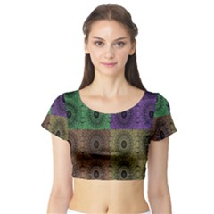 Creative Digital Pattern Computer Graphic Short Sleeve Crop Top (tight Fit)