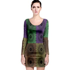 Creative Digital Pattern Computer Graphic Long Sleeve Bodycon Dress
