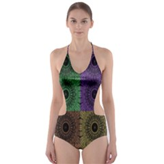 Creative Digital Pattern Computer Graphic Cut-Out One Piece Swimsuit