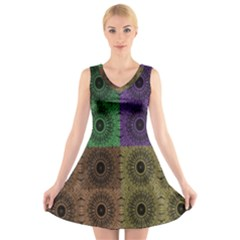 Creative Digital Pattern Computer Graphic V Neck Sleeveless Skater Dress