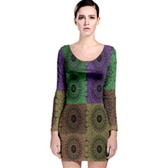 Creative Digital Pattern Computer Graphic Long Sleeve Velvet Bodycon Dress