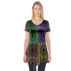 Creative Digital Pattern Computer Graphic Short Sleeve Tunic