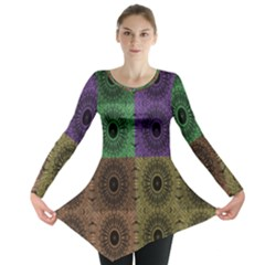 Creative Digital Pattern Computer Graphic Long Sleeve Tunic