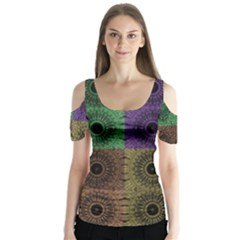 Creative Digital Pattern Computer Graphic Butterfly Sleeve Cutout Tee