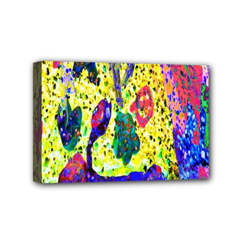 Grunge Abstract Yellow Hand Grunge Effect Layered Images Of Texture And Pattern In Yellow White Black Mini Canvas 6  X 4