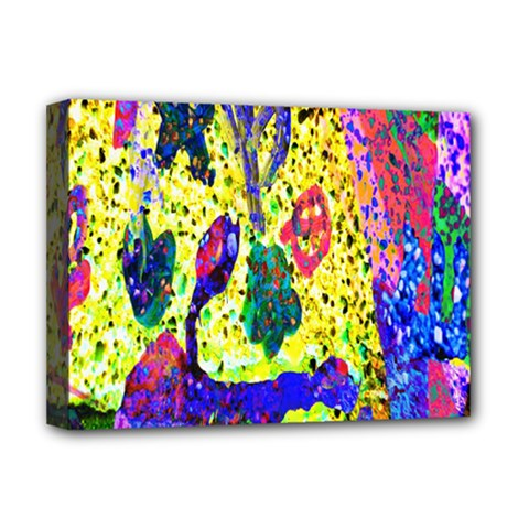 Grunge Abstract Yellow Hand Grunge Effect Layered Images Of Texture And Pattern In Yellow White Black Deluxe Canvas 16  x 12