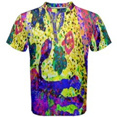 Grunge Abstract Yellow Hand Grunge Effect Layered Images Of Texture And Pattern In Yellow White Black Men s Cotton Tee