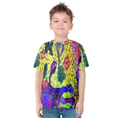 Grunge Abstract Yellow Hand Grunge Effect Layered Images Of Texture And Pattern In Yellow White Black Kids  Cotton Tee