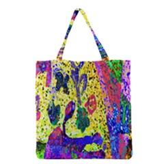 Grunge Abstract Yellow Hand Grunge Effect Layered Images Of Texture And Pattern In Yellow White Black Grocery Tote Bag