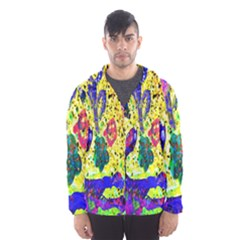 Grunge Abstract Yellow Hand Grunge Effect Layered Images Of Texture And Pattern In Yellow White Black Hooded Wind Breaker (Men)