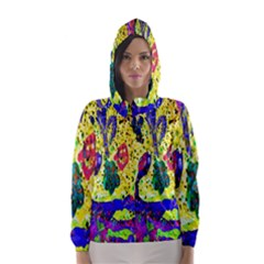 Grunge Abstract Yellow Hand Grunge Effect Layered Images Of Texture And Pattern In Yellow White Black Hooded Wind Breaker (Women)