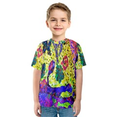 Grunge Abstract Yellow Hand Grunge Effect Layered Images Of Texture And Pattern In Yellow White Black Kids  Sport Mesh Tee