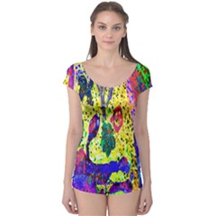 Grunge Abstract Yellow Hand Grunge Effect Layered Images Of Texture And Pattern In Yellow White Black Boyleg Leotard