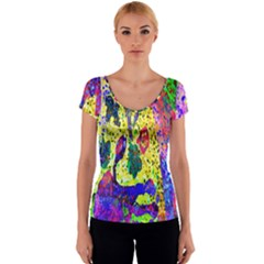 Grunge Abstract Yellow Hand Grunge Effect Layered Images Of Texture And Pattern In Yellow White Black Women s V-Neck Cap Sleeve Top
