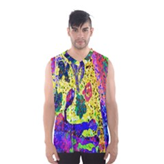 Grunge Abstract Yellow Hand Grunge Effect Layered Images Of Texture And Pattern In Yellow White Black Men s Basketball Tank Top