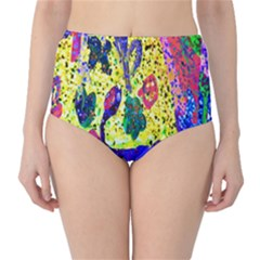 Grunge Abstract Yellow Hand Grunge Effect Layered Images Of Texture And Pattern In Yellow White Black High Waist Bikini Bottoms