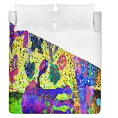 Grunge Abstract Yellow Hand Grunge Effect Layered Images Of Texture And Pattern In Yellow White Black Duvet Cover (queen Size)
