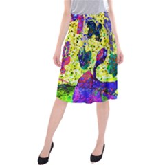 Grunge Abstract Yellow Hand Grunge Effect Layered Images Of Texture And Pattern In Yellow White Black Midi Beach Skirt