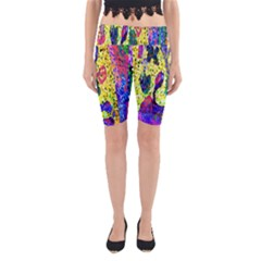 Grunge Abstract Yellow Hand Grunge Effect Layered Images Of Texture And Pattern In Yellow White Black Yoga Cropped Leggings