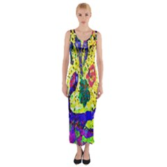 Grunge Abstract Yellow Hand Grunge Effect Layered Images Of Texture And Pattern In Yellow White Black Fitted Maxi Dress