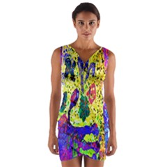 Grunge Abstract Yellow Hand Grunge Effect Layered Images Of Texture And Pattern In Yellow White Black Wrap Front Bodycon Dress