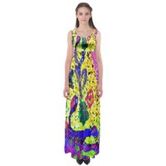 Grunge Abstract Yellow Hand Grunge Effect Layered Images Of Texture And Pattern In Yellow White Black Empire Waist Maxi Dress
