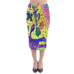 Grunge Abstract Yellow Hand Grunge Effect Layered Images Of Texture And Pattern In Yellow White Black Midi Pencil Skirt