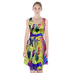 Grunge Abstract Yellow Hand Grunge Effect Layered Images Of Texture And Pattern In Yellow White Black Racerback Midi Dress
