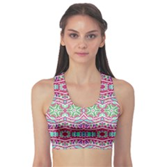 Colorful Seamless Background With Floral Elements Sports Bra