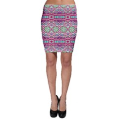 Colorful Seamless Background With Floral Elements Bodycon Skirt