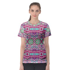 Colorful Seamless Background With Floral Elements Women s Sport Mesh Tee