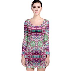 Colorful Seamless Background With Floral Elements Long Sleeve Bodycon Dress